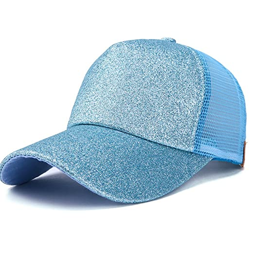 WGIA Ponytail Baseball Cap Glitter Mesh Ponycap Shiny Messy Bun Snapback  Adjustable Sun Hat for Women a38cb338d327