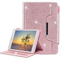 iPad Mini Funda, Apple iPad Mini 4/3/2/1 Estuche para Bolígrafo, Glitter Estuche para Cuero TPU para Interior [Cierre Magnético] Estuche para Billetera con Auto Sleep / Wake Función-Brillante Oro rosa