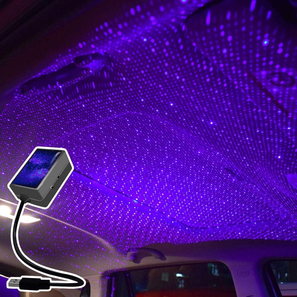 HONPHIER Atmosph/äre Licht Auto Universal USB Plug and Play lampe Romantische Auto Projector LED Nachtlicht Tragbare Atmosph/äre Licht Lampe Dekorationen f/ür Auto Dachprojektor