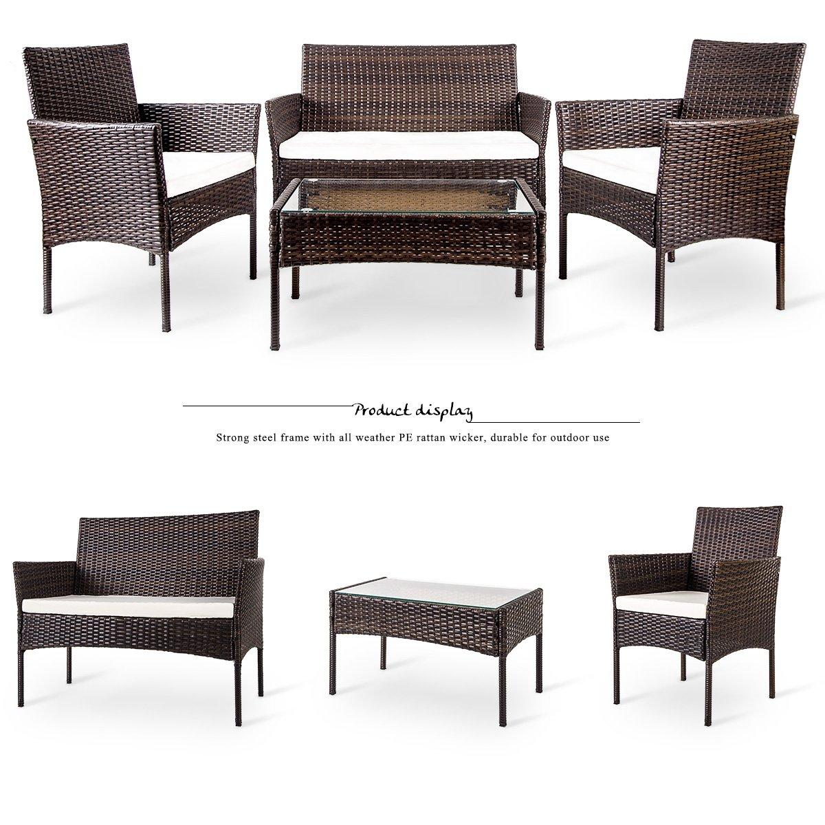 Merax 4 PC Outdoor Garden Rattan Patio Furniture Set Cushioned Seat Wicker Sofa (Brown) by Merax (Image #2)