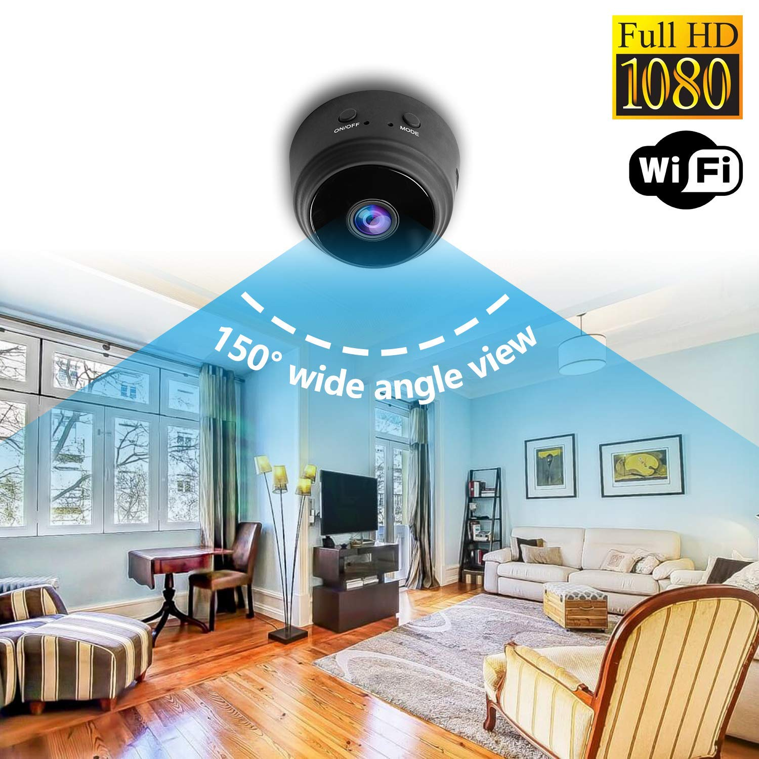 Mini Wireless IP Camera – TOTUOKEY Wi-Fi 1080P Camera Motion Detection Night Vision Hidden Camera Nanny Cam Wireless IP Security Wall Mount Home Camera Remote Control Android iOS Free App PC View