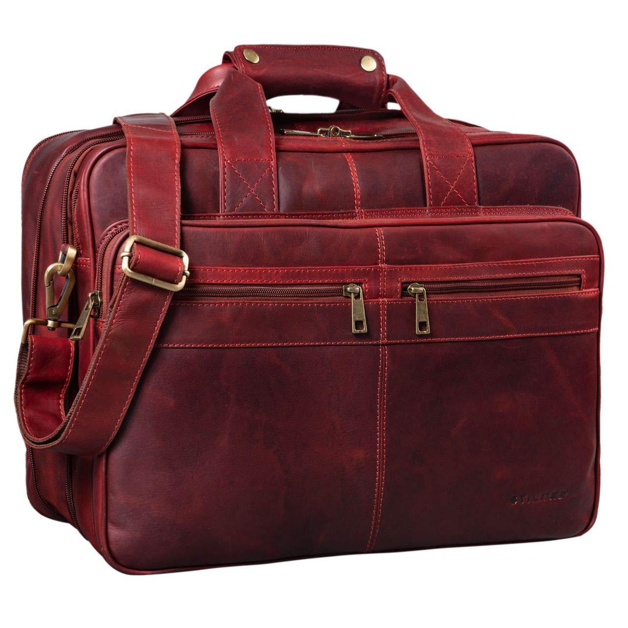 STILORD 'Alexander' Lehrertasche Herren Leder braun Aktentasche Laptoptasche Bürotasche Businesstasche Vintage groß XXL Umhängetasche mit Dreifachtrenner, Farbe:Rosso