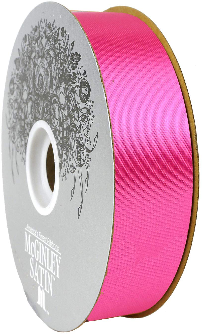 McGinley Mills 1.3'' W Acetate Satin Ribbon, Cyclamen Pink, 100 Yard Spool