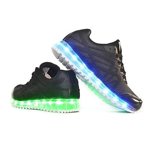 Envio 24 Horas Usay like Zapatillas LED Con 7 Colores Luces Carga USB Negro Hombre Mujer