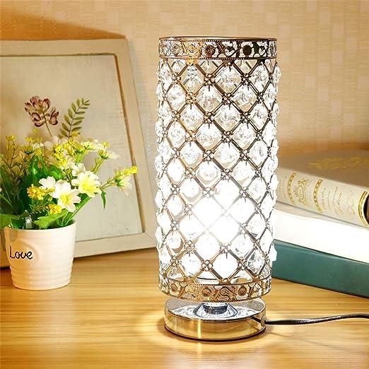 Lámpara de Mesa de Cristal, Plata E27 Base Decorativo Lámpara de ...