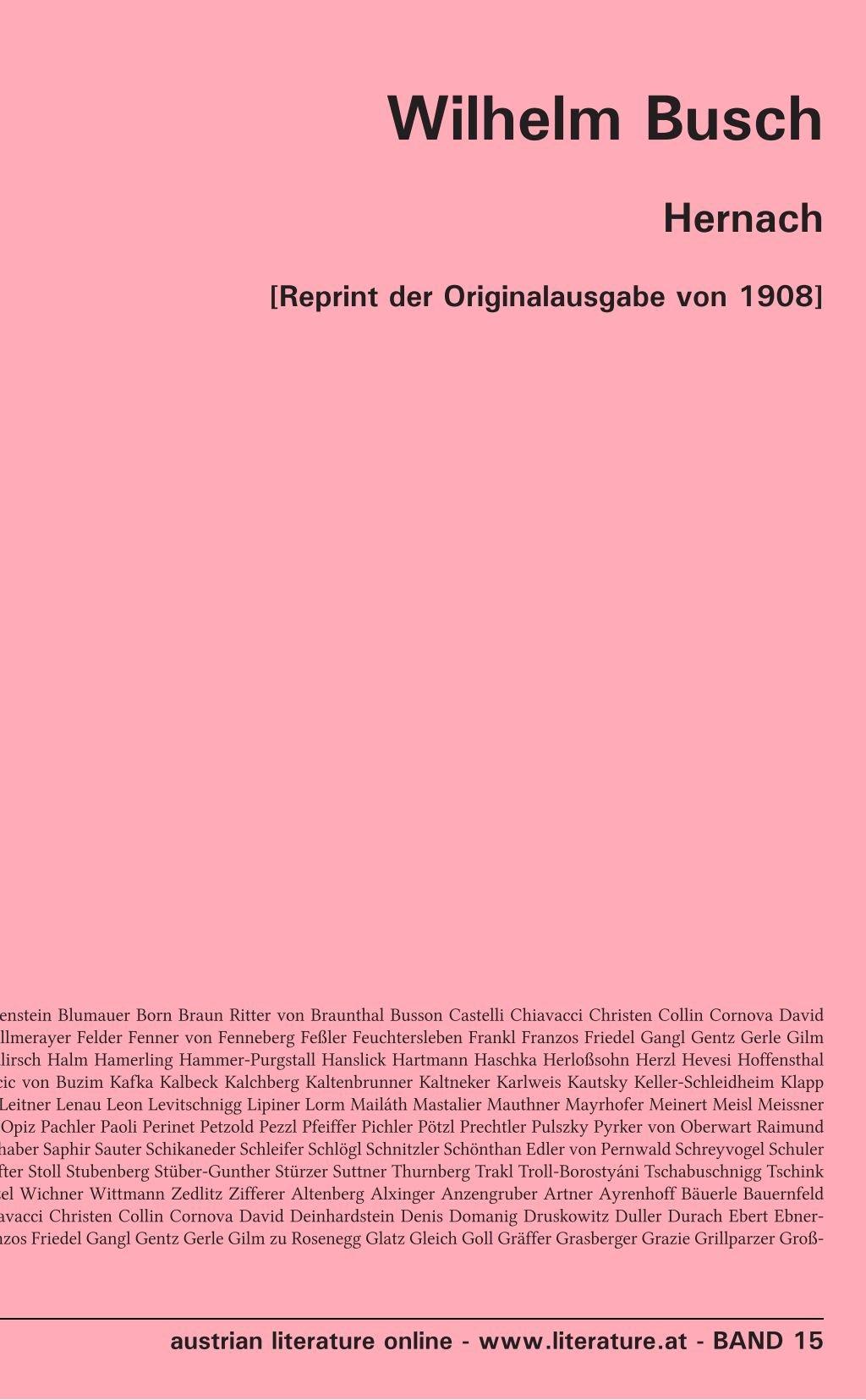 Hernach: [Reprint der Originalausgabe von 1908]