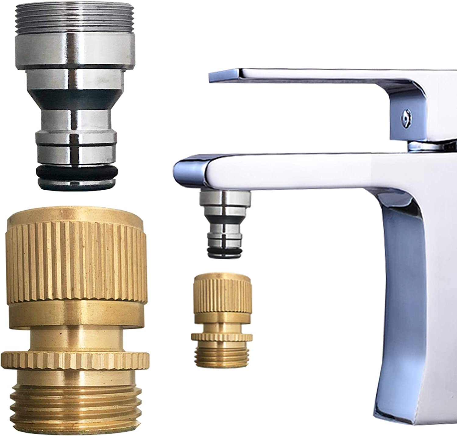 bathroom Sink Faucet snap adapter quick connect to garden hose, kitchen faucet aratored quick snap connector to 3/4 inch GHT female for washer, indoor sink quick-fit attachment