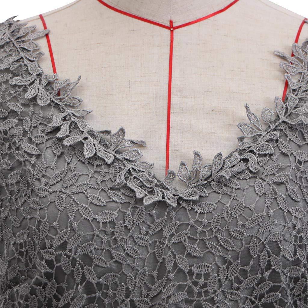 GOTD Women Sling Cross Wedding V-Neck Elegant Party Evening Slim Hollow Lace Dress