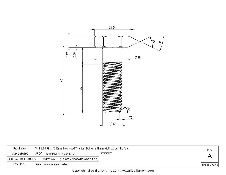 Allied Titanium 0086500, 609235001 Grade 5 Inc Pack of 4 M12-1.75 Pitch X 40mm Titanium Hex Head Bolt Ti-6Al-4V