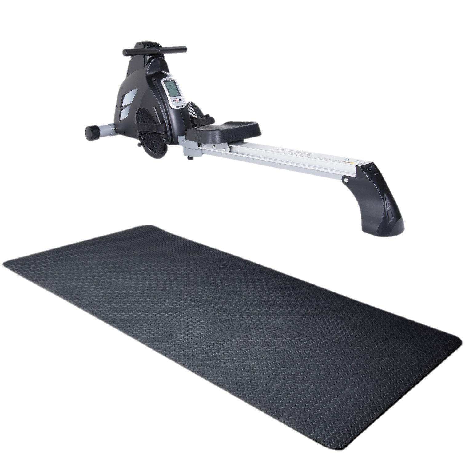 Velocity Exercise Black Magnetic Rower (Black with Equipment Mat)