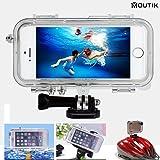MOUTIK iPhone 5/5S/SE用 完全 防水ケース Goproマウント対応/広角170 魚眼レンズ付き gopro用のヘッドマウント/バイクマウント/自撮り棒/フローティング対応 防塵 耐衝撃 防滴 防振 防水IPX68