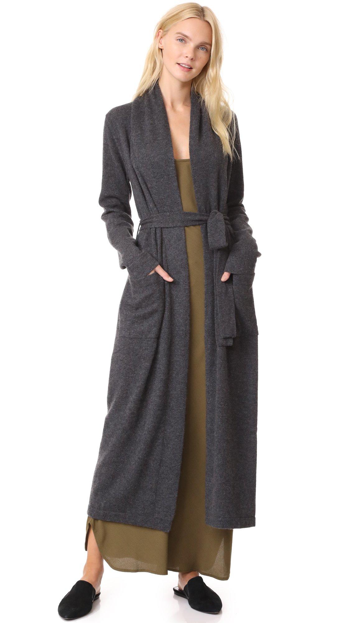 White + Warren Women's Luxe Cashmere Robe, Charcoal Heather, Medium