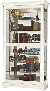 Howard Miller Tyler IV Curio Cabinet 680-639 – Aged Linen Finish Home Decor, Six Glass Shelves, Seven Level Display Case, Locking Slide Door, No-Reach Light