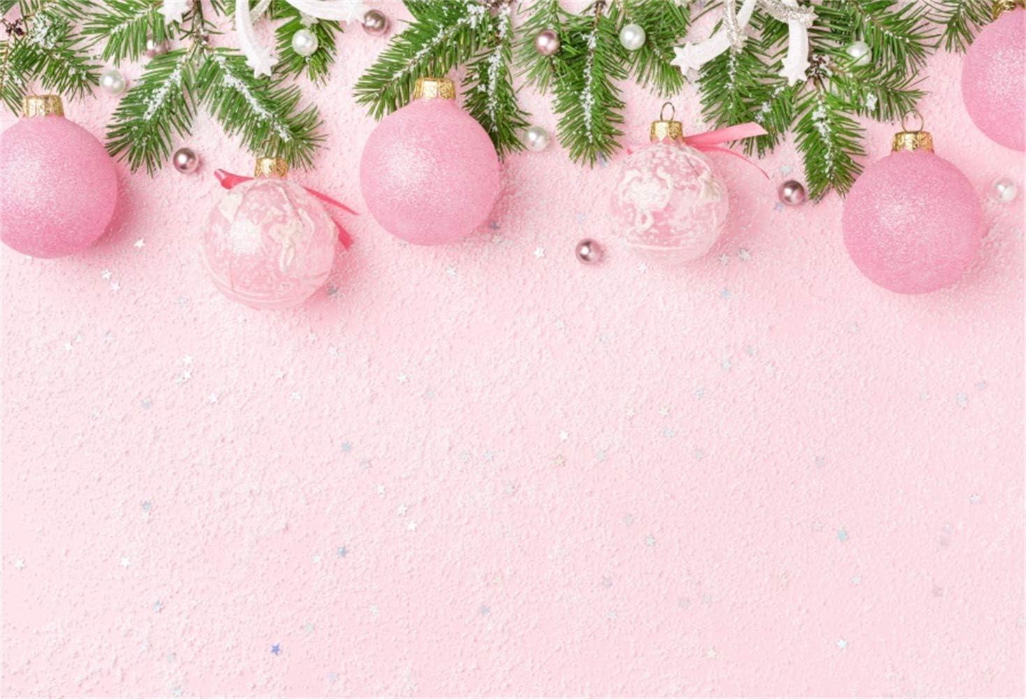Amazon Com Laeacco Christmas Theme Backdrop 10x8ft Vinyl Pastel Pink Xmas Decoration Balls Pine Pink Texture Photo Background New Year S Eve Xmas Celebrating Party Banner Child Baby Kids Girl Adult Shoot