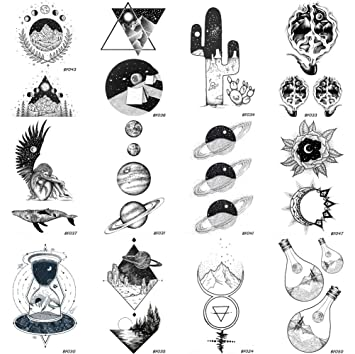 9c092d354 Amazon.com : 12 Pieces/Lot Creative Planets Star Temporary Tattoo Stickers  Paper Men Funny Sun Men Women Tattoo Kids Custom Moon Cosmos Tatoos  Supplies ...