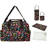 ECOSUSI Diaper Tote Bags Fashion Mummy Shoulder Bag Colorful Childhood (Black pattern)
