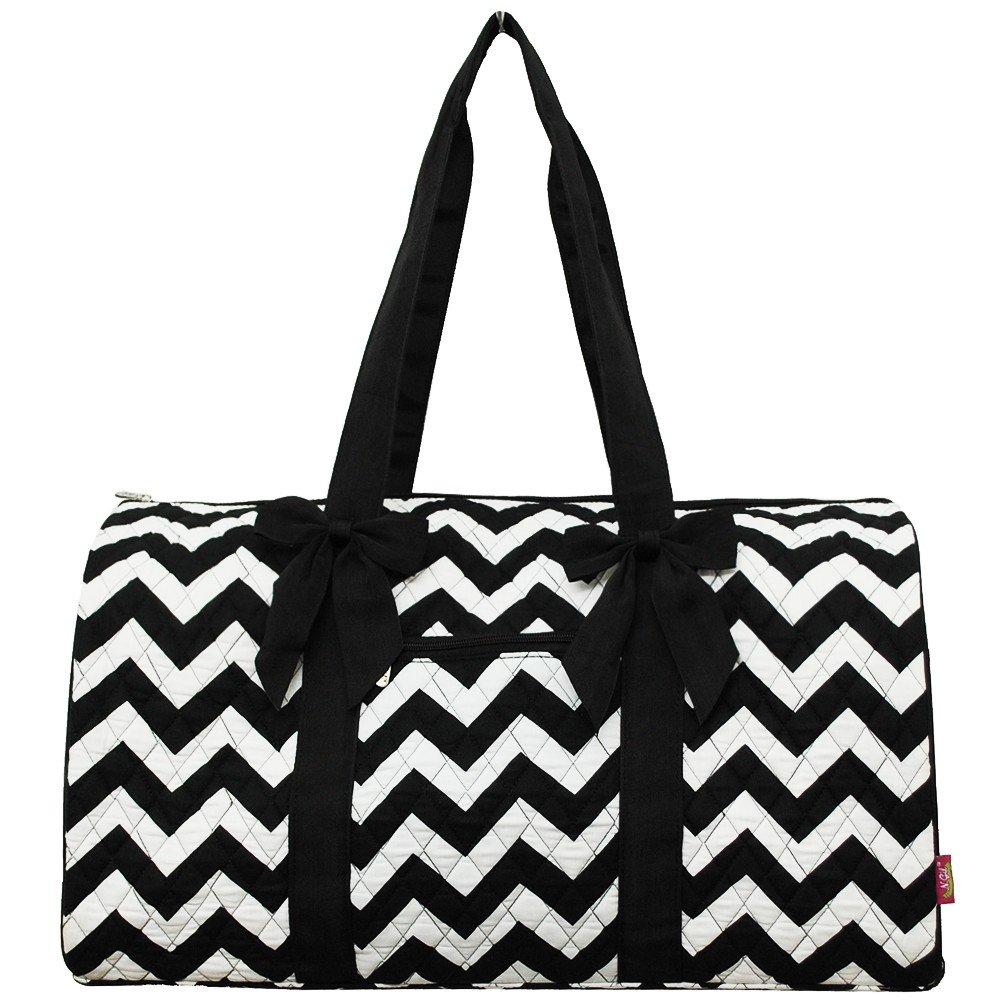 Black Chevron Print NGIL Large Quilted Duffle Bag