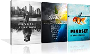 3 Pieces Mindset is Everything Motivational Wall Art Canvas Print Office Decor Cat Goldfish Paintings Success Island Entrepreneur Quotes Inspirational Wall Decor for Office Home Ready to Hang
