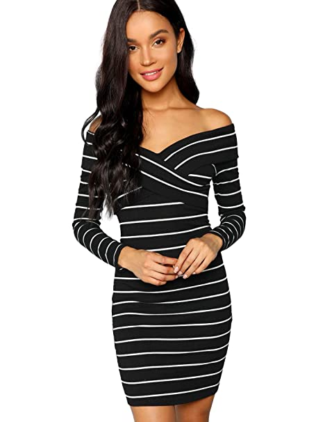 d8973a6d10d9 MAKEMECHIC Women s Striped Criss Cross Off Shoulder Long Sleeve Bodycon  Dress Black M at Amazon Women s Clothing store