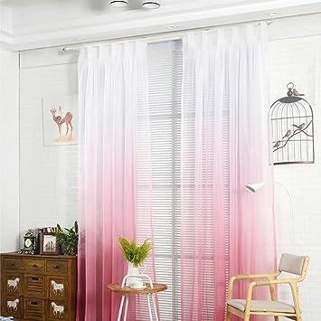 Nibesser Transparent Farbverlauf Gardine Vorhang Schlaufenschal Deko Für  Wohnzimmer Schlafzimmer (245cmx140cm, Weiß Und Rosa
