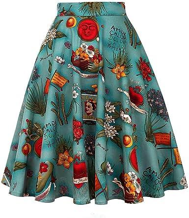 Vintage Frida Kahlo década de 1950 Estampado Floral de Cintura ...