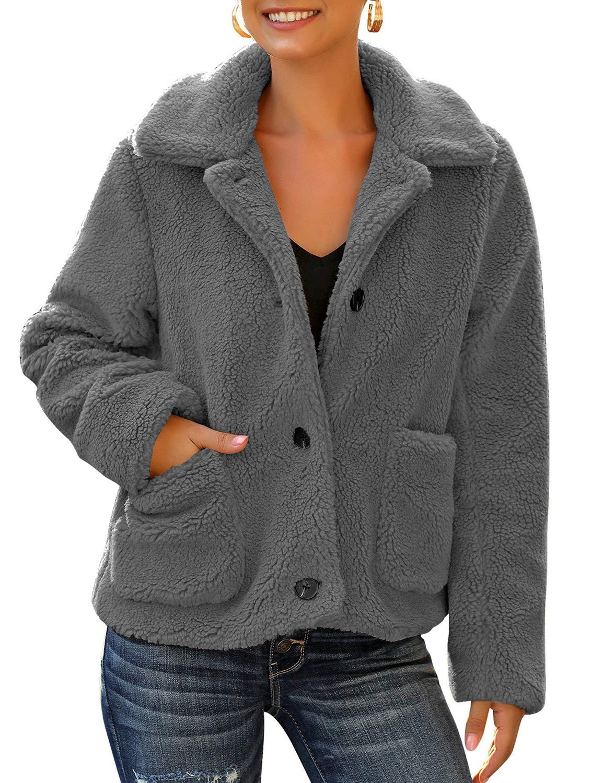 LookbookStore Women's Casual Faux Fur Button Down Jacket Coat Long Sleeve Lapel Fleece Outwear Winter Warm Pocket Solid Sherpa Outerwear Dark Grey Size Small by LookbookStore