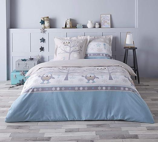 Home Linen Funda nórdica de Franela 100% algodón – Choupy Azul 240 ...