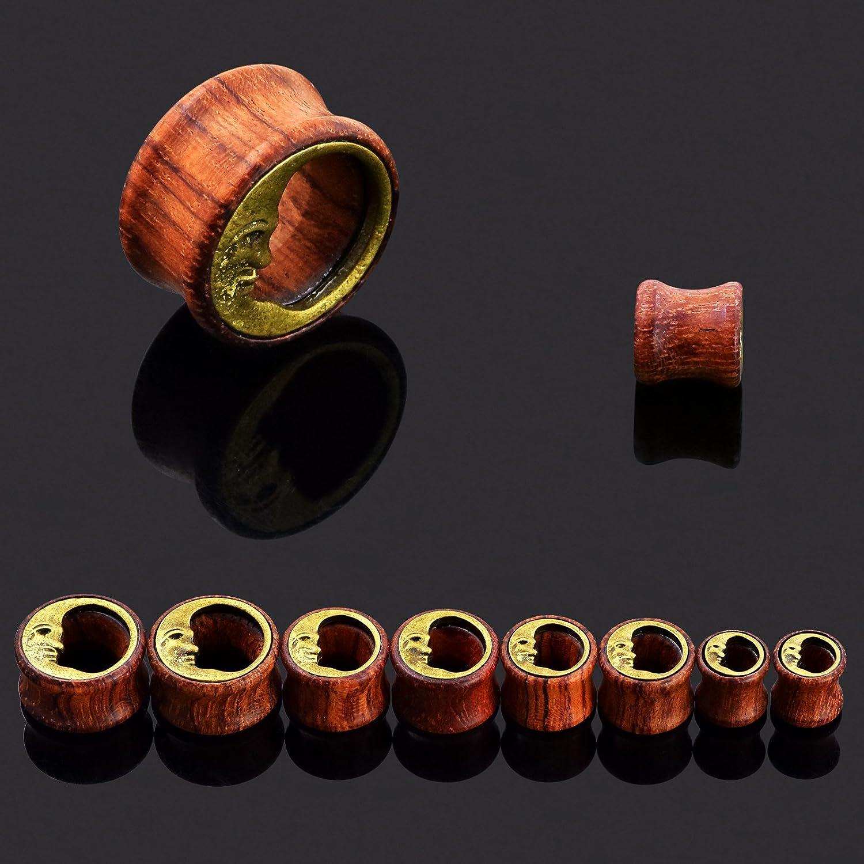 Qmcandy 6//12pcs 0g-3//4 in Sun Moon Organic Wood /& Acrylic Screw Ear Tunnels Plugs Expander Set