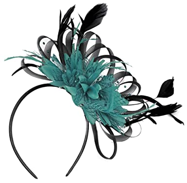 d7946d24d85be Black Net Hoop and Teal Feathers Hair Fascinator Headband Wedding Royal  Ascot Races  Amazon.co.uk  Clothing