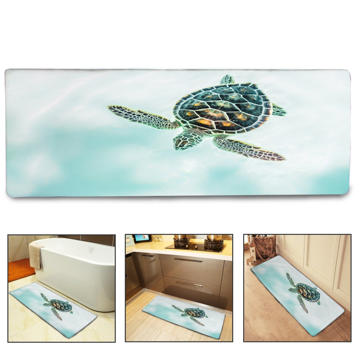 QIYI Bath Mat Rug Super Soft Non-Slip Machine Washable Quickly Drying Antibacterial,for Office Door Mat,Kitchen Dining Living Hallway Bathroom 16''x48''-Swimming Turtle