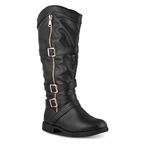914bfb667f1d Twisted Women s Amira Wide Width Wide Calf Faux Leather Knee-High Western  Flat Riding