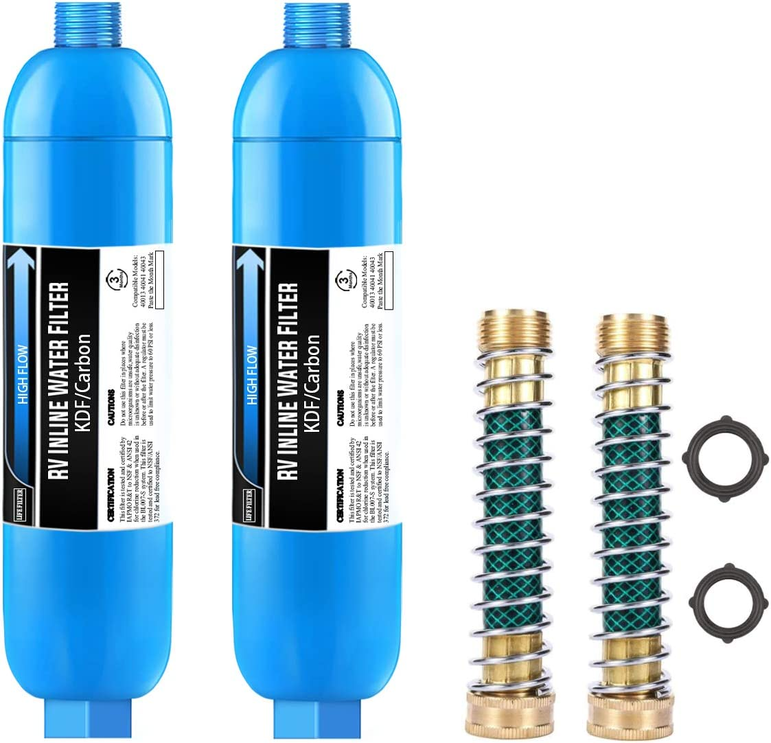 Lifefilter RV Inline Water Filter with Flexible Hose Protector,Reduces Lead, Fluoride, Chlorine, Bad Taste&Odor,Compatible with 40013, 40041, 40043 KDF Filter, 2 Pack