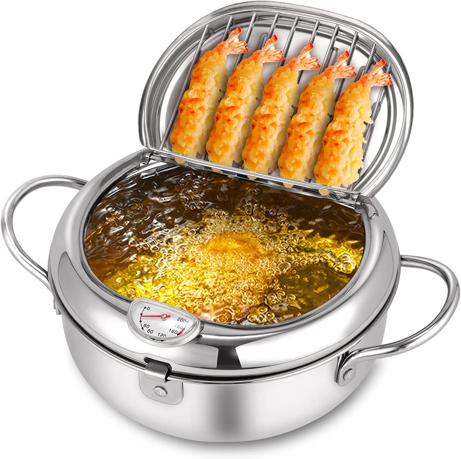 Deep Fryer Pot,304 Stainless Steel with Temperature Control and Lid Japanese Style Tempura Fryer Pan Uncoated Fryer Diameter:8.0