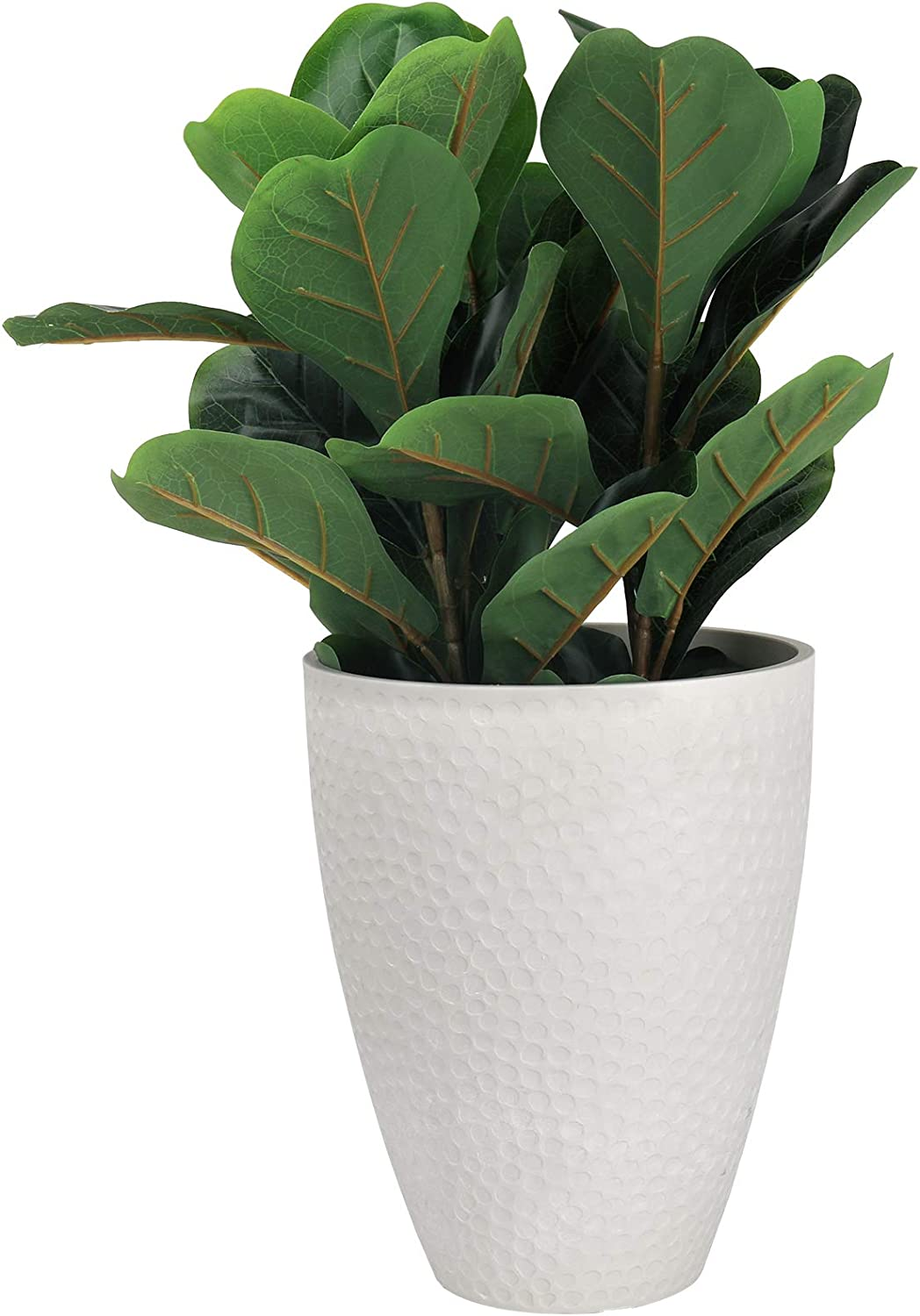 LA JOLIE MUSE Tall Planter - 14.2 Inch Large Indoor & Outdoor Tree Planter, Plant Pot Containers, White Stone, Honeycomb