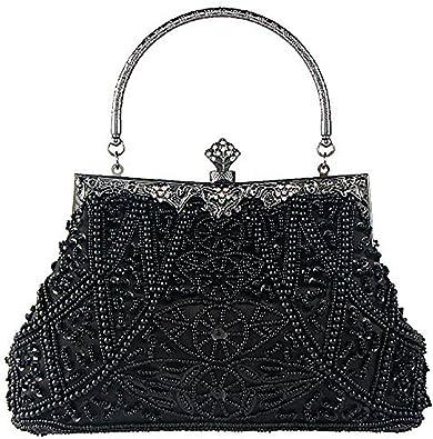 Women Clutch Bag Handbag ,Vintage Beaded Bag Portable Banquet Shoulder Bag@Silver,Ladies Girls Wedding Handbag Purse Bag