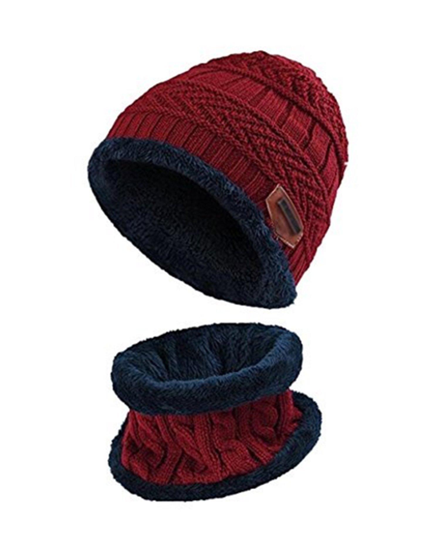 ZZLAY Enfants Hiver épais Bonnet écharpe Ensemble Slouchy Chaud Neige Knit  Skull Cap product image c6e9b7c1df9