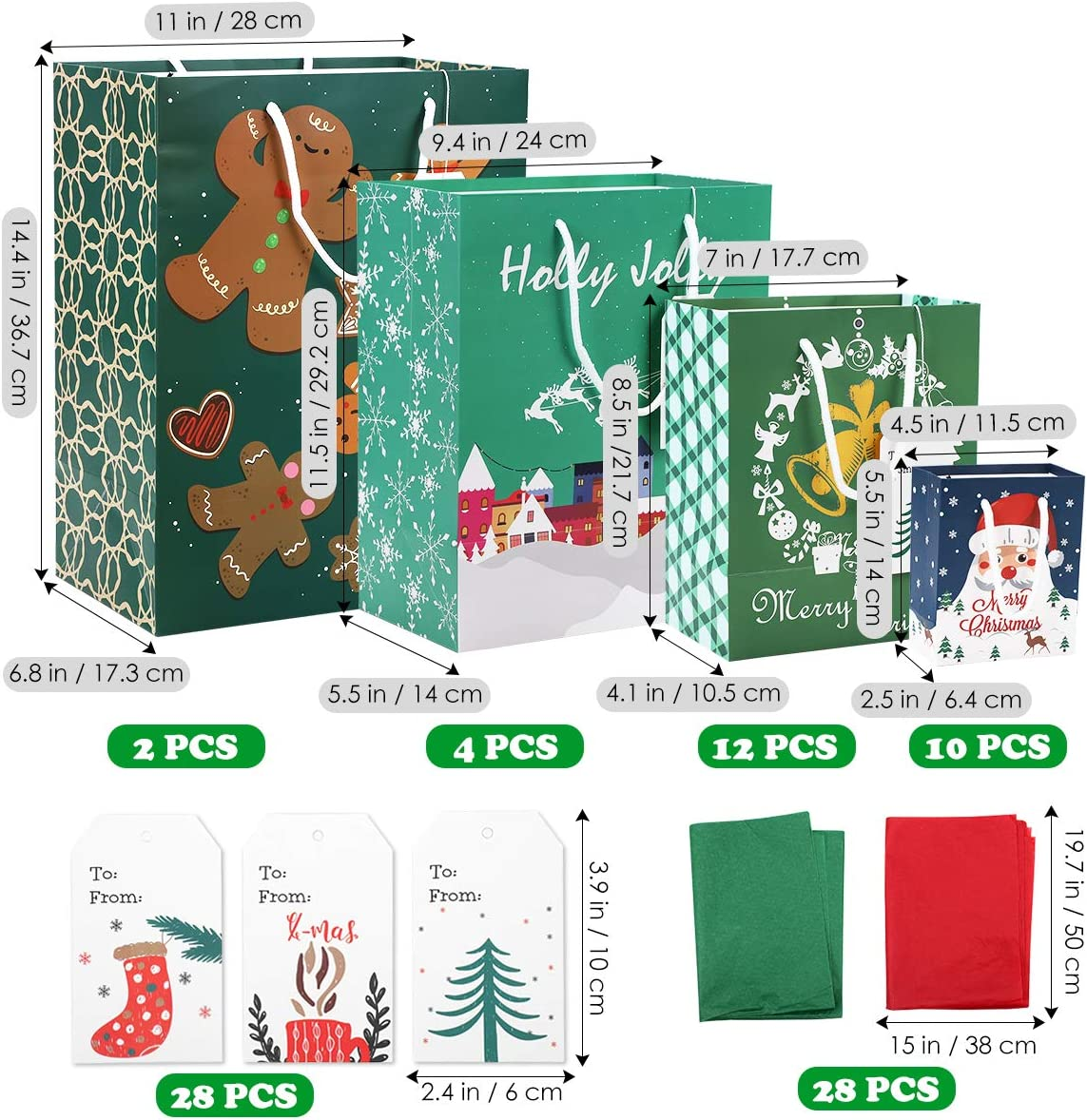 Christmas Bags for Gifts, 84 PCS with 28 Christmas Bags Gift Tags and Tissue Paper, 4 Different Sizes for Gift Wrapping