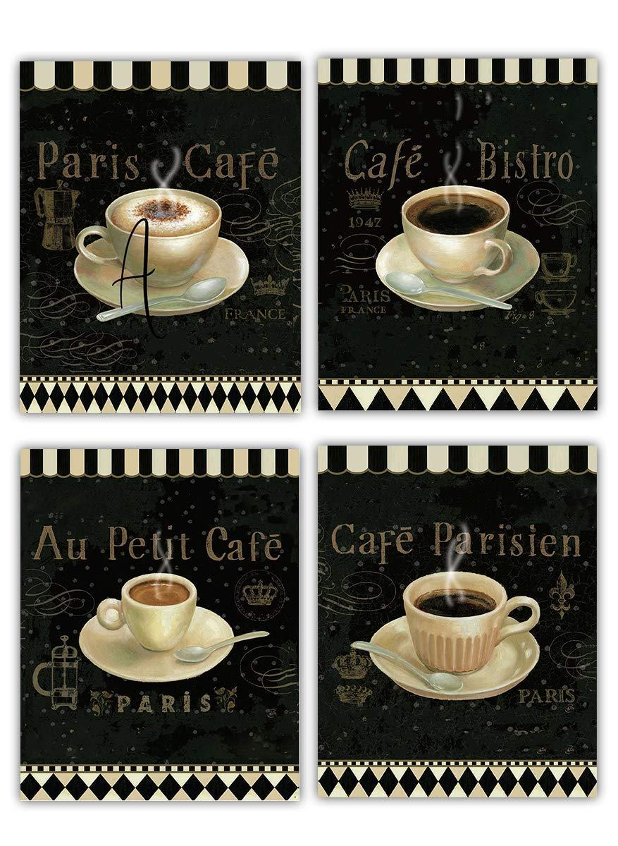 "European Coffee Cafe'- Fine Art Wall 4 Set- 8 x 10""s Wall Art Prints- Ready to Frame + Bonus Latte Print. Paris Cafe' & Bistro Decor. Coffee & Kitchen Decor. Perfect For Coffee Lovers & Coffee Bars."