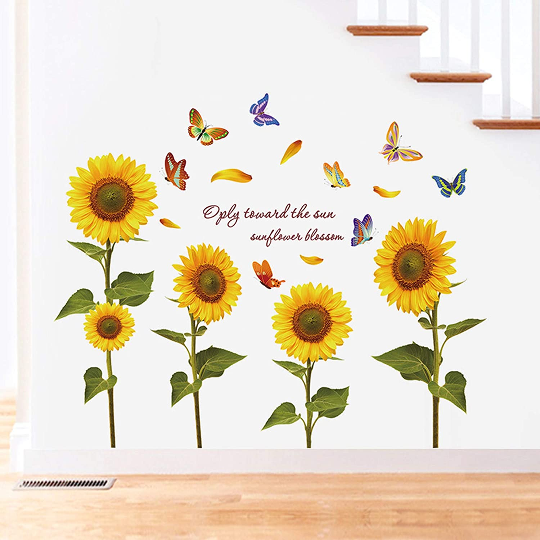 MOLANCIA Sunflower Wall Sticker, Beautiful Butterfly Wall Decals, Garden Flower Wallpaper Wall Art Decor, Peel and Stick Art Mural for Living Room Kids Bedroom Home Décor