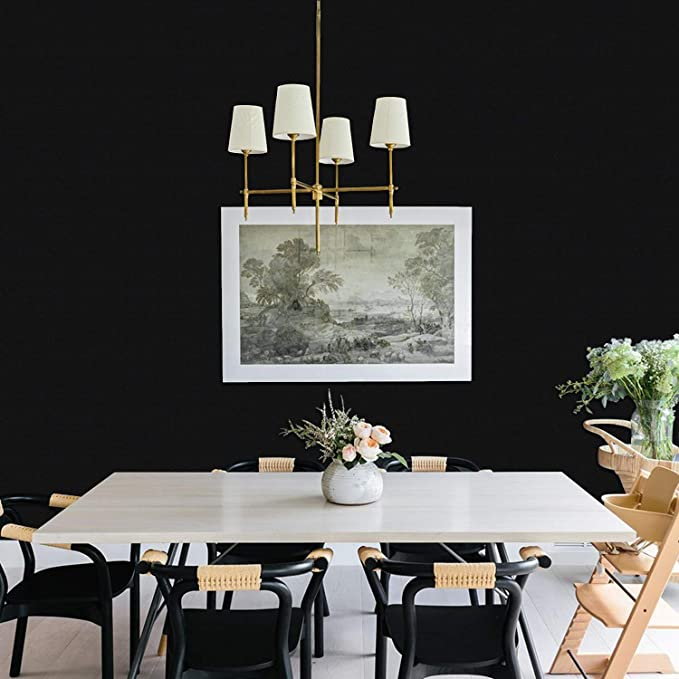Black Wallpaper 17.71In/×118In Durable Black Contact Paper Peel and Stick Wallpaper Removable Self-Adhesive Easy to Apply Decorative Film Roll