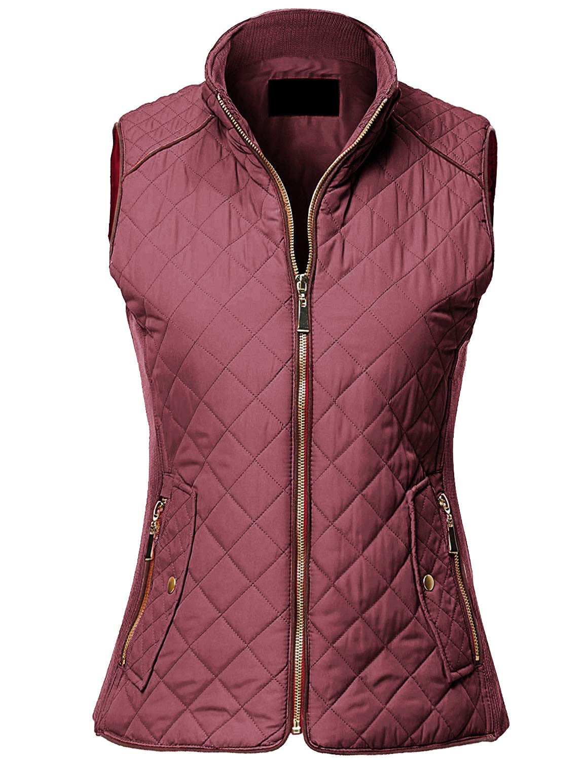 MAYSIX APPAREL Sleeveless Lightweight Zip Up Quilted Padding Vest Jacket for Women REDBEAN 3XL