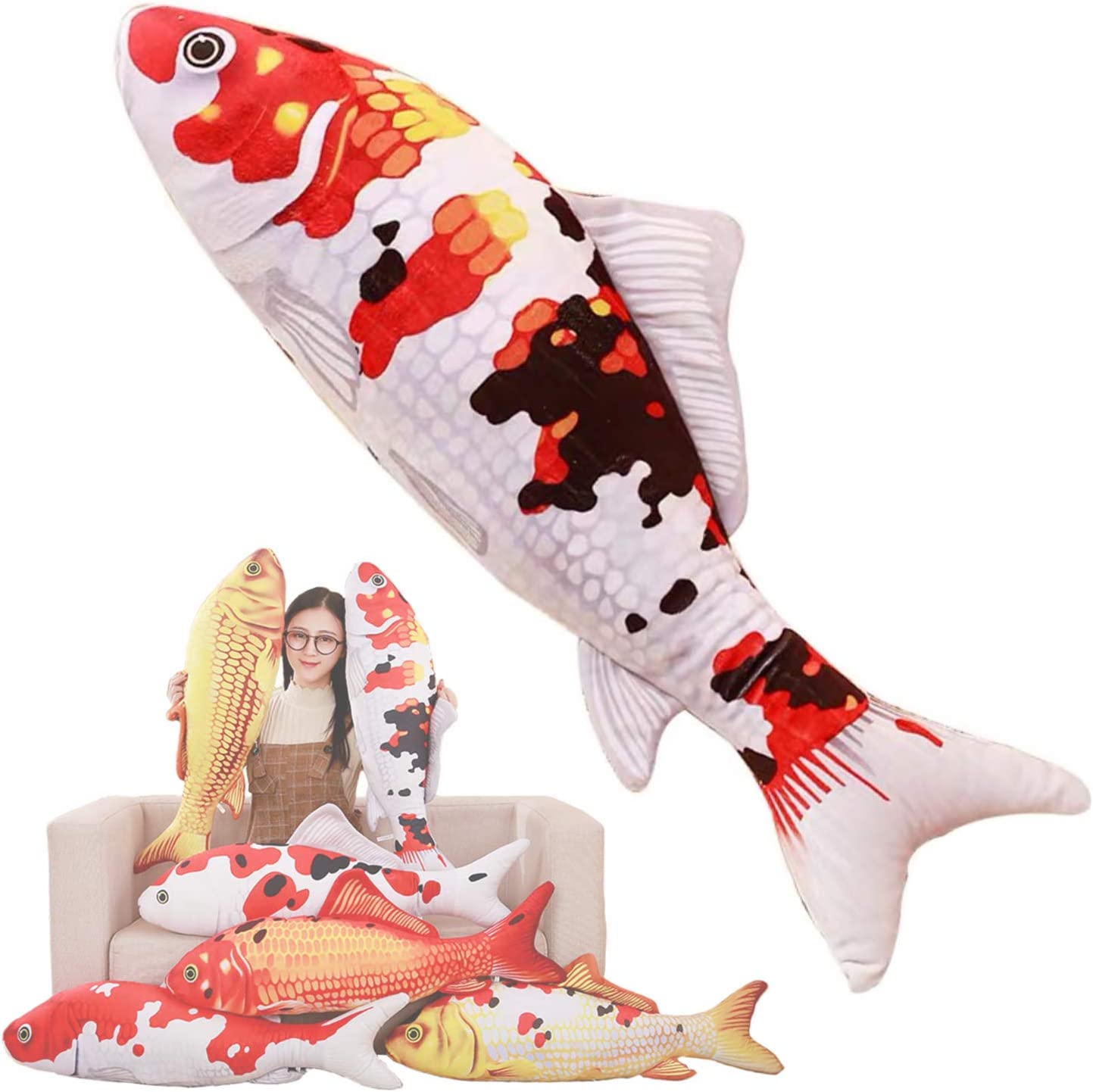 Simulation Fish Plush Toy Soft Fish Toy Pillow Cushion Stuffed Toy Oversized Pillow Creative Gift Home Decor 23.6 in, Tricolor Red Carp