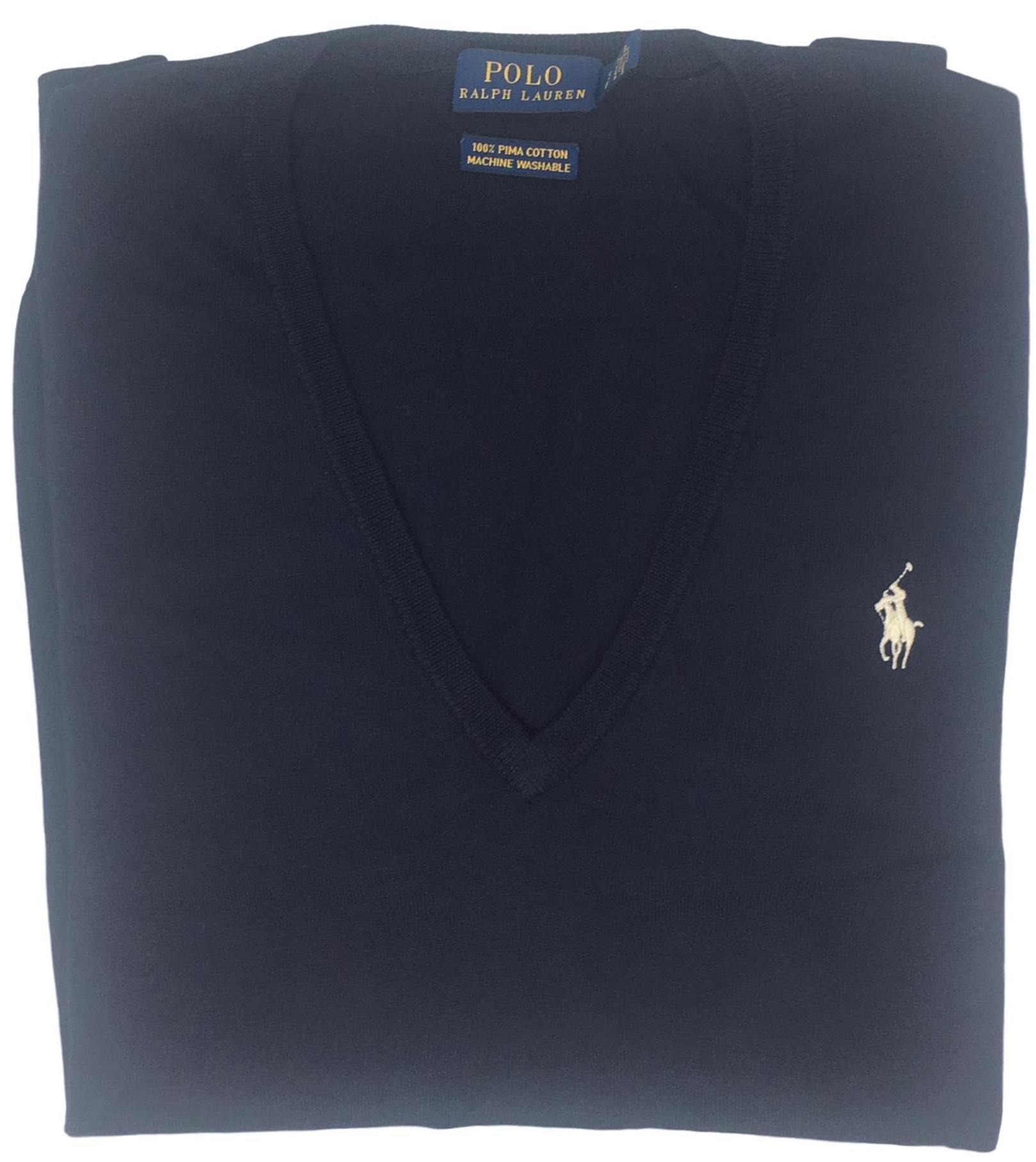 Polo Ralph Lauren Womens Pima Cotton V-Neck Sweater (S, Blue)