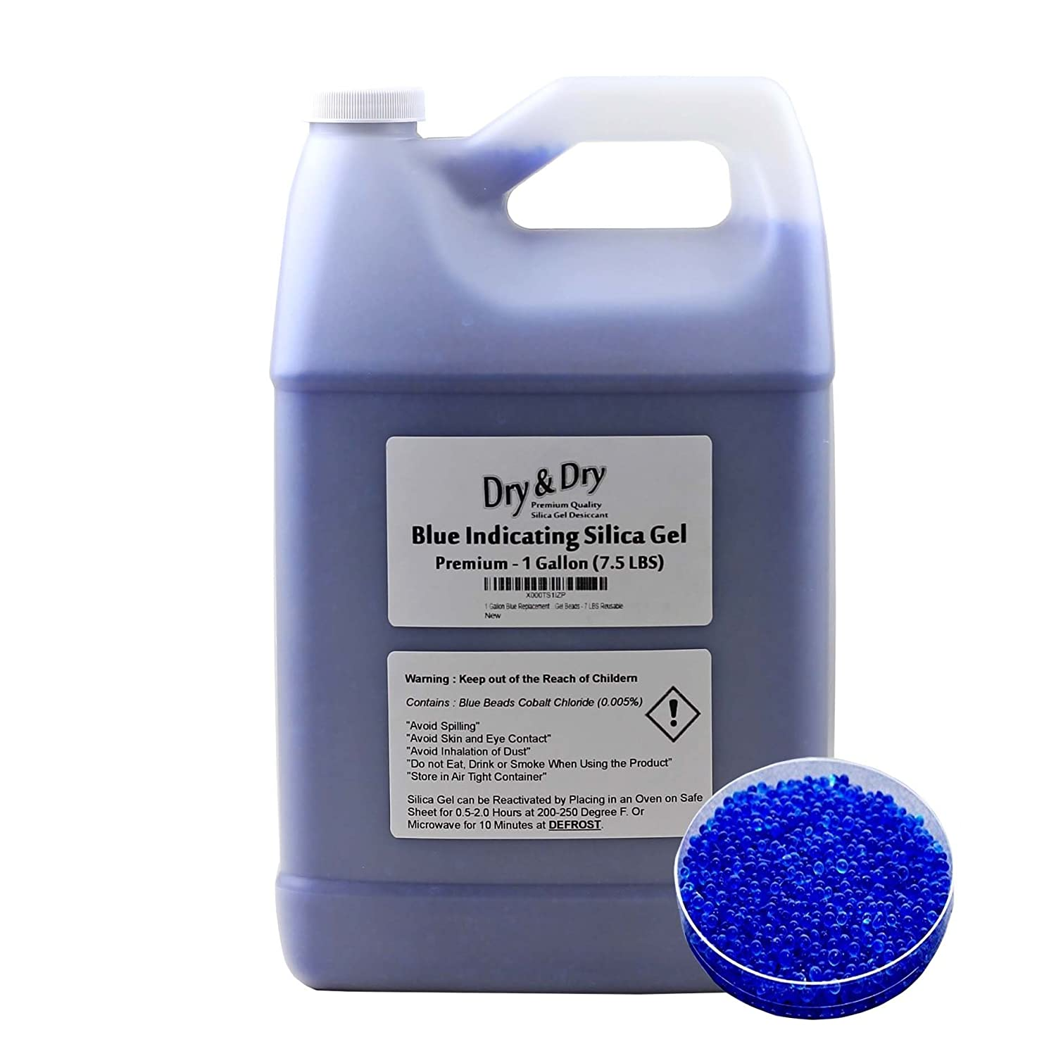 Dry & Dry 1 Gallon Blue Premium Indicating Silica Gel Beads(Industry Standard 2-4 mm) - 7.5 LBS Reusable