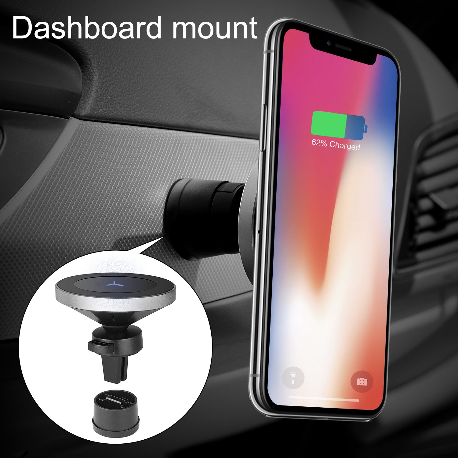 Qinoren Magnetic Wireless Car Charger Air Vent Phone Holder,Wireless Charging for Samsung S9/S9+/S8/S8+/S7/S7 Edge Note 8、Apple iPhone X/8/8 Plus and All QI-Enabled Devices(No Car Charger) by Qinoren (Image #5)