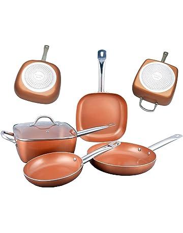 Bioexcel - Juego de sartenes de cobre con asas de acero inoxidable - 5 piezas -
