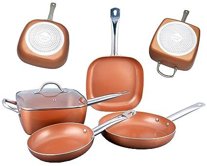 Bioexcel - Juego de sartenes de cobre con asas de acero inoxidable - 5 piezas - Incluye sartén redonda, pote cuadrado con tapa de vidrio - Juego de ...