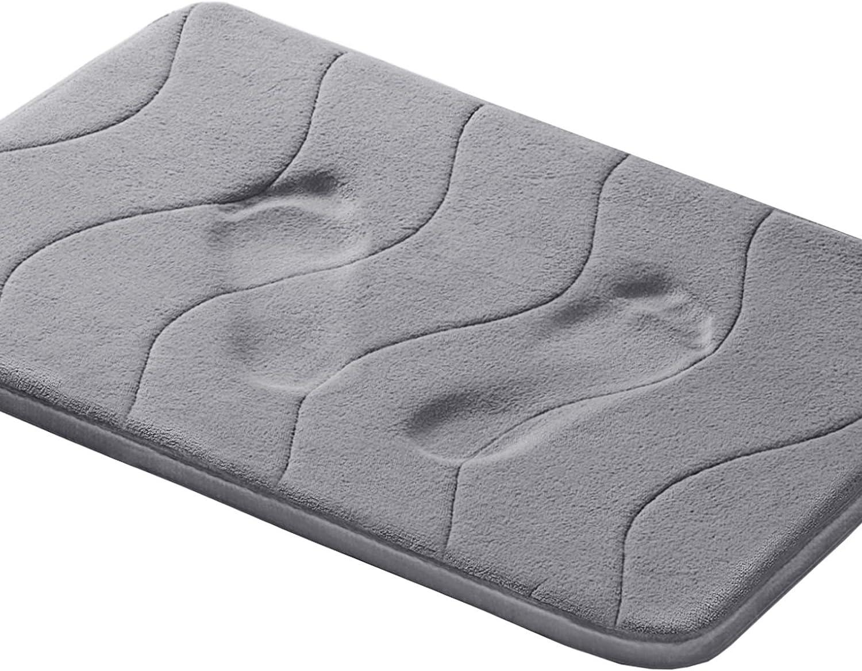 Amazon Com Memory Foam Coral Fleece Non Slip Bathroom Mat Super Soft Microfiber Bath Mat Machine Washable Bath Rugs Super Absorbent Thick And Durable Bath Rugs 17w X 24l Inches Gray Waved Pattern