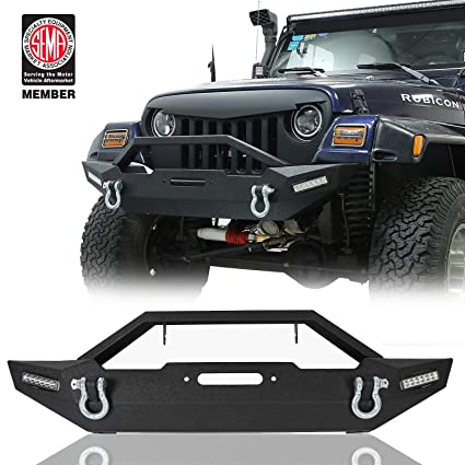 Hooke Road Rock Crawler Front Bumper, Blade Bumper w/Winch Plate & 2X LED  Accent Lights for 87-06 Jeep Wrangler TJ YJ