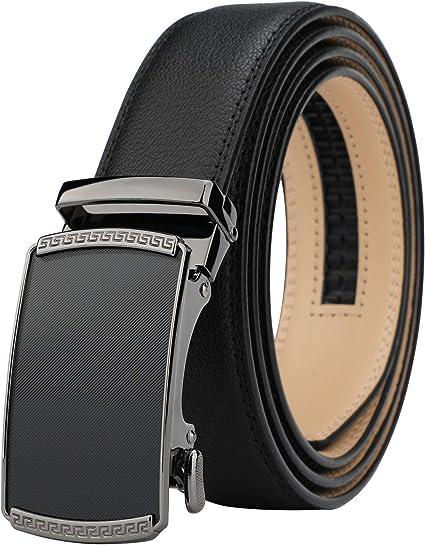Men/'s Leather Casual Comfort Dress Belt Automatic Double Stitch Click Buckle